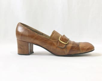 1960s Vintage Hush Puppies Leather Puritan Pumps | Chunky Heel Hush Puppies | 1960s | 1970s | Brown Leather Buckle Heels | Vintage Shoes