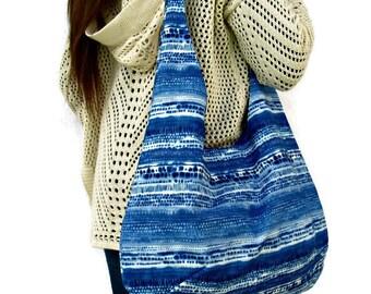 Blue Hobo Bag, Boho Bag, Beach  Fabric Tote Bag, Shoulder Bag,  Hippie Bag.
