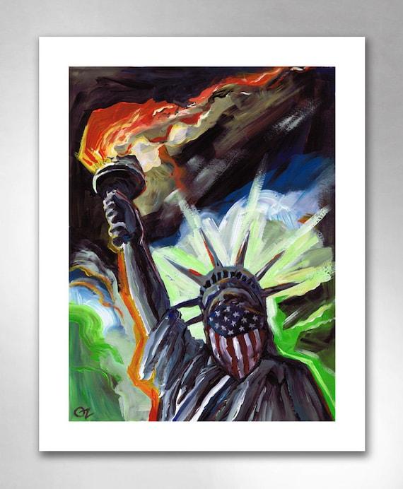 LADY LIBERTY American Art Print 11x14 by Rob Ozborne