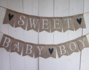Baby Boy Banner - Boy Baby Shower Decor - Sweet Baby Boy Bunting - Baby Boy Garland - Rustic Burlap Baby Boy Party Sign - Boy Baby Shower