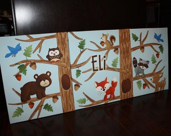 Set of 3 Personalized Triptic Forest Woodland Friends Stretched Canvases Girls Bedroom CANVAS Bedroom Wall Art 3CS041
