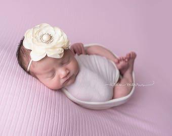 Ivory headband, you choose color headband, flower girl headband, baby headband, baby photo prop, baby, newborn headband, newborn, baby girl,