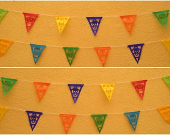 Mini Flags Mexican Papel picado Day of the dead paper banner dia de los muertos string attached with 10 flags Mexico Assorted Colors