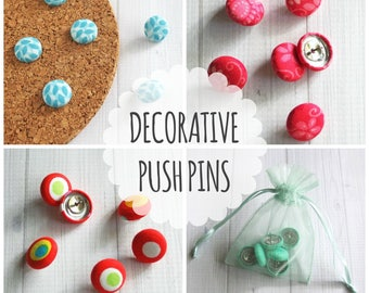Decorative Push Pins for Bulletin Board or Cork Board, Fabric Covered Buttons, Thumb Tacks, Secret Santa, Stocking Stuffer, Gift for Student