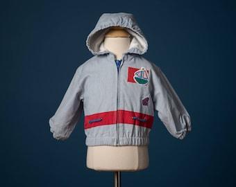 Vintage Blue And Red Boat Appliquéd Hooded Jacket (Size 6/9 Months)