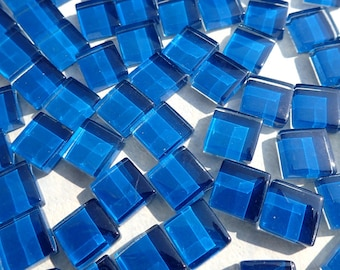 Blue Glass Tiles - 1 cm - Crystal Mosaic Tiles - Set of 100 - Use for Mosaic Jewelry - Cerulean Mosaic Tiles