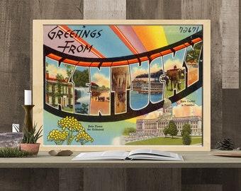 Art Print: Kentucky Postcard Poster