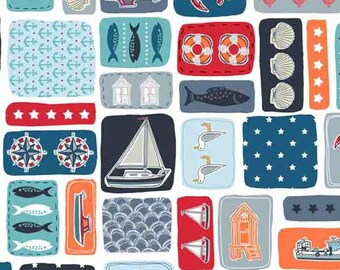 Seaside Fabric, Sea Montage Cotton Fabric by Makower from their Marina Collection, Nautical White Cotton Fabric