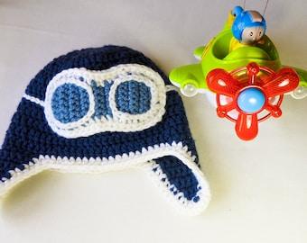 Crochet Aviator Hat for 1-2 years boy toddler
