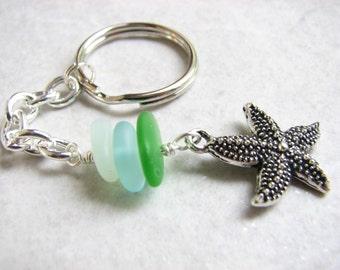 Starfish Key Ring, Sea Star Starfish Keychain, Beaded Sea Glass Keyring, Stacked Glass Beach Key Fob,  Chain
