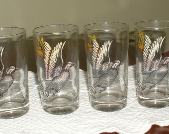 VIntage Sour Cream Glasses  4 Matching with Ducks