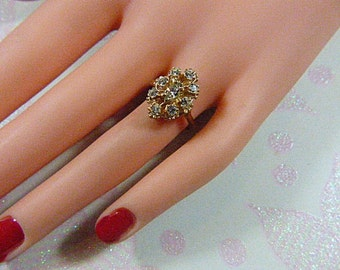 Vintage Rhinestone Cluster Ring - Size 6.5 - R-254