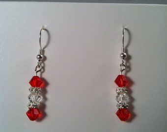 Beaded Earrings - Affordable Jewelry - Gift for Her - Beaded Jewelry - Dangle Earrings - Red - Handcrafted - Handmade - Gift under 10