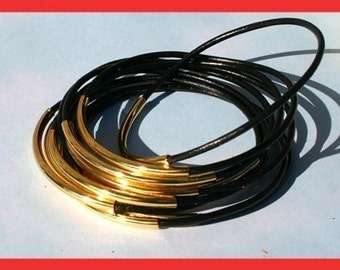 20 Leather Bangles Bracelets Black Leather - FREE SHIPPING