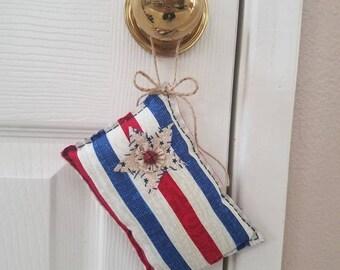 Patriotic Hand Stitched Home Decor, Patriotic Door Hanger, Patriotic Wall Hanging, Patriotic Flag, USA
