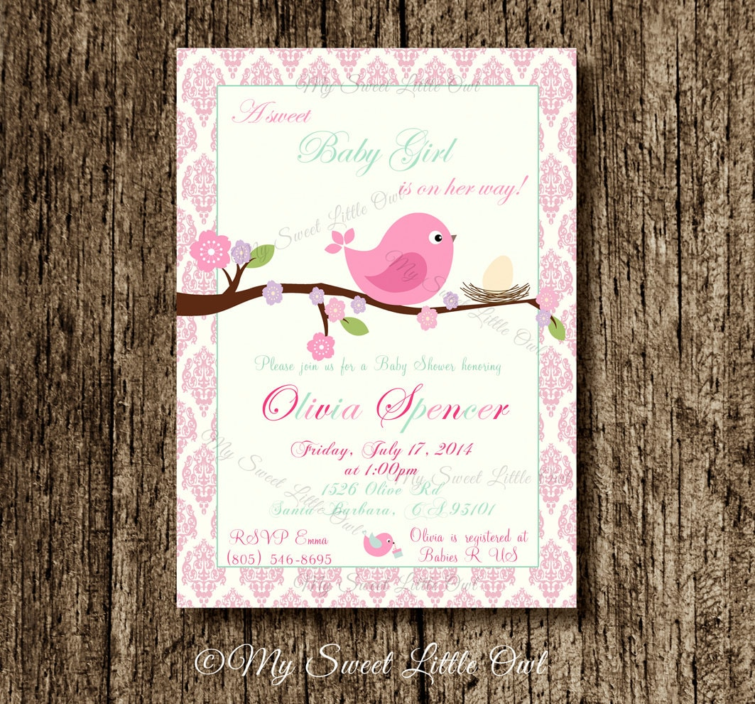 Bird invitation bird baby shower invitation bird invite zoom filmwisefo Image collections