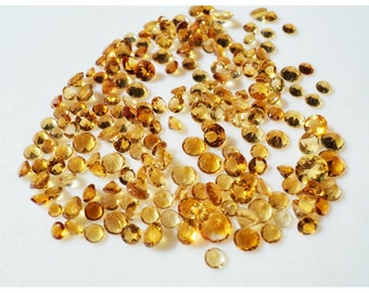Citrine Cabochons, Faceted Cabochons, Calibrated Citrine, 5mm Each - 10 Pieces