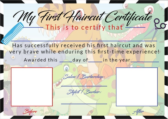 Boys First Haircut Certificate Baby First Haircut Photo