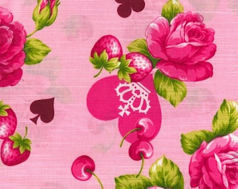 """Roses and Suits PINK 100% Cotton Slub Sheeting ~ 42"""" Wide ~ Sold by the Yard"""