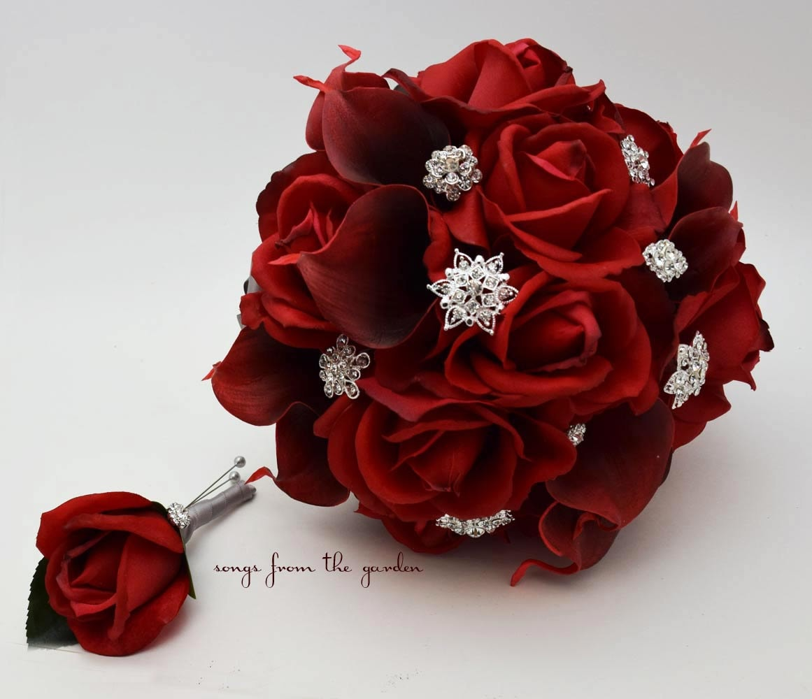 Red Roses Calla Lilies Rhinestones Bridal Bouquet Real Touch