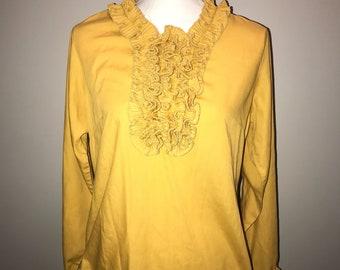 Vintage 70's Mustard Yellow Ruffle Blouse /