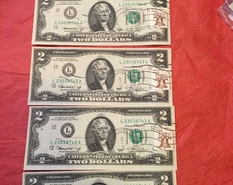 1976L Bicentenial 2 Dollar FRN First Day of Issue Sequential Serial Numbers Vandenberg AFB CA  Uncirculated Lot 10