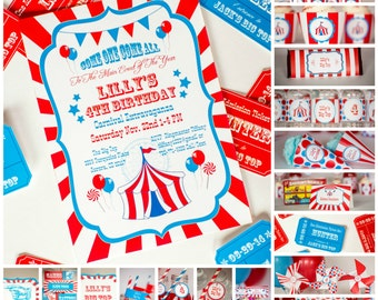 Carnival Party Kit with Invitation, Personalized Carnival Birthday Party, Printable Carnival Circus Party Set, Instant Download