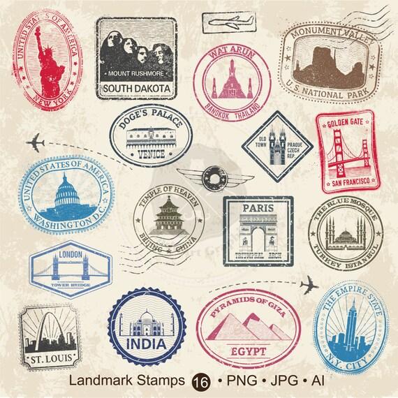 Landmark Stamps Clipart Travel Stamps Clipart Passport