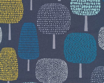 WIDE LAMINATED cotton fabric by the 1/2 yard - Organic Matte - Trees on navy blue - great for wipeable tablecloths apron