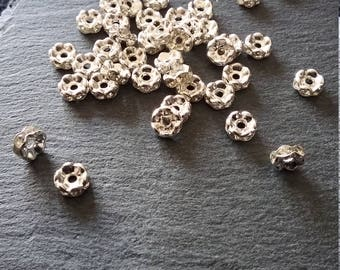 50 Silver Plated Clear Rhinestone 6mm Spacer Beads