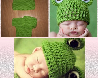 Knit frog outfit, baby frog hat, knit frog hat and shorts, green frog photo prop, newborn photo props, kermit the frog