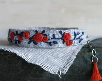 Rose Cuff Bracelet, Fabric Cuff Bracelet, Ooak Jewelry, Handmade Jewelry, Gift For Her, Gift For Mom, Floral Bracelet