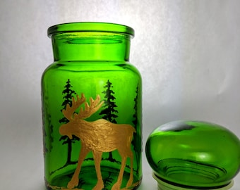 Moose Decor Kitchen Storage Container Storage Jar Sugar Flour Canister Woodland Animals Moose and Trees Cabin Lodge Decor Housewarming Gift