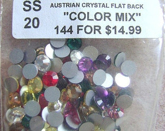 Rhinestones,Swarovski ,Flatback,  SS  20, MIXED COLORS, 5MM, Glue On, 144 Pieces, 1 Gross, Non Hot Fix