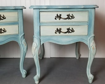 SOLD-- French Provincial Side Table (set of two) Ebd Table