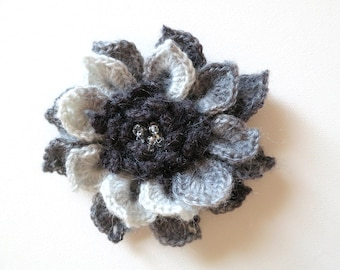 FREE US SHIPPING - Light Gray Dark Charcoal Gray Color Acrylic Wool Yarn Fashion Crochet Flower Brooch Hat Hair Scarf Shawl Pin