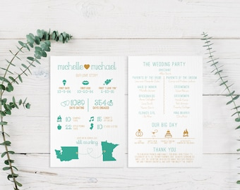 Infographic Wedding Program Printable PDF or Printed Cards   Ceremony Timeline, Fun Facts, States, Destination, Travel, Modern, Cute   Love