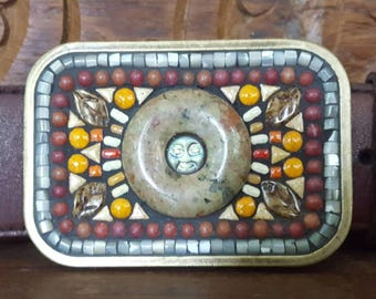 Mosaic Belt Buckle with Moonface