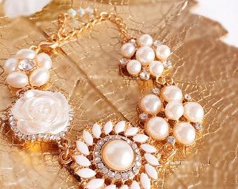 Flower Bracelet - birthday Gift - Ready to Ship - Pearl Bracelet - ELIZA Bracelet