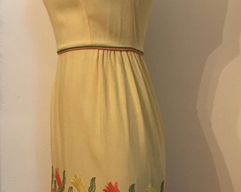 Vintage 1960's Sleeveless Daffodil Yellow Fitted Day Dress with Embroidered Skirt & Boatneck