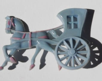Vintage Pin / Brooch 50s Hard Plastic Blue Horse and Carriage with Pink Trim