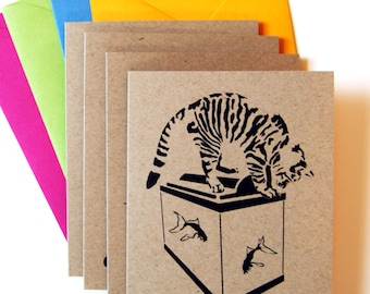 Cat Card Set, Blank Cards, Active Cats, Tabby Cats