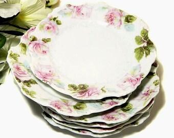 Six Antique Scalloped Rose Bread Dessert Plates Hermann Ohme Silesia