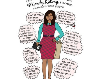 Mindy Kaling - Hand-Illustrated