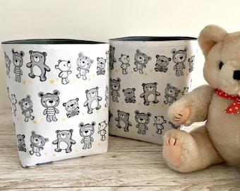 Small Teddy Fabric Storage Baskets - Nursery Storage - Gender Neutral Nursery - Baby Shower Gift - New Baby Gifts - Fabric Bins - Teddy Bear