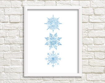 Winter Snowflakes Printable Wall Art Watercolor Blue Snowflakes Print Winter Decor Winter Print Winter Printable Christmas Print Snowflakes