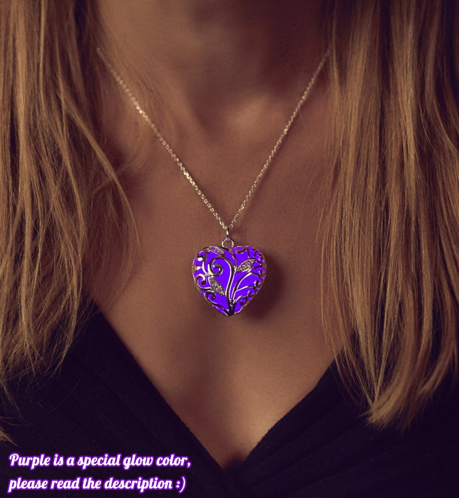 goldios necklace heart love gavier first series purple silver
