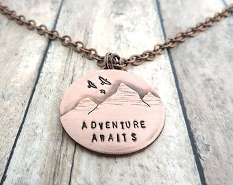 Adventure Awaits Mountain Necklace - Hiker Jewelry - Mountain Girl - Outdoor Woman - Mountain Peaks - Nature Jewelry - Rustic