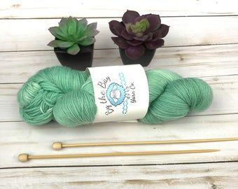 Rain Washed Teal Sparkle Hand Dyed Yarn 70/25/5% Superwash Merino Nylon Stellina sock knitting wool semi solid Texas Indie Unicorn