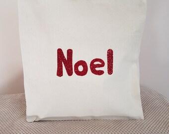 Red Noel canvas tote shoulder bag
